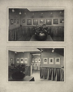 View of the Gertrude Käsebier and Clarence H. White exhibition at the Little Galleries of the Photo Secession, 1906. Published in Camera Work, No 14, 1906