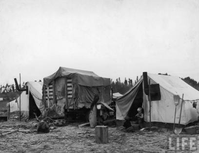 Homes belonging to Okies, dust bowl refugees CA 36